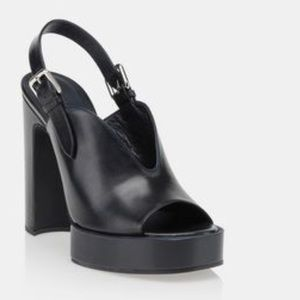 Jil Sander black chunky open toe heel platforms